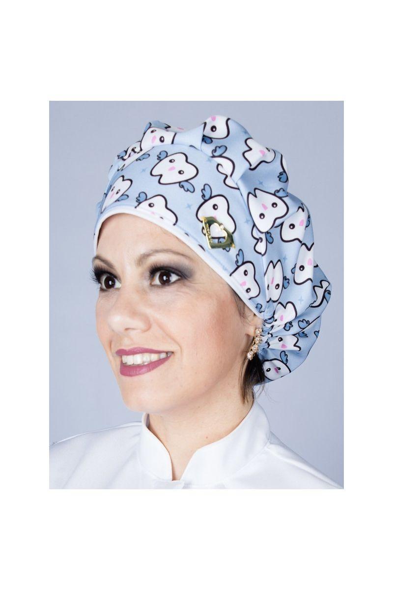 Touca cirúrgica com estampa Dentinho Azul