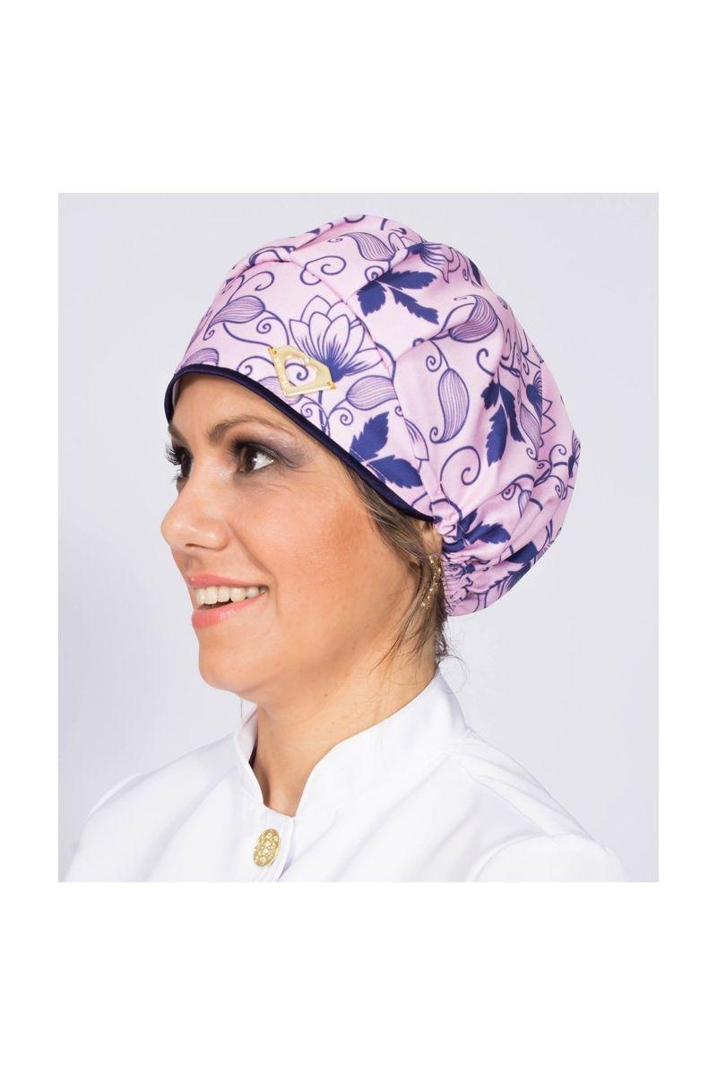 Touca cirúrgica com estampa Floral Azul