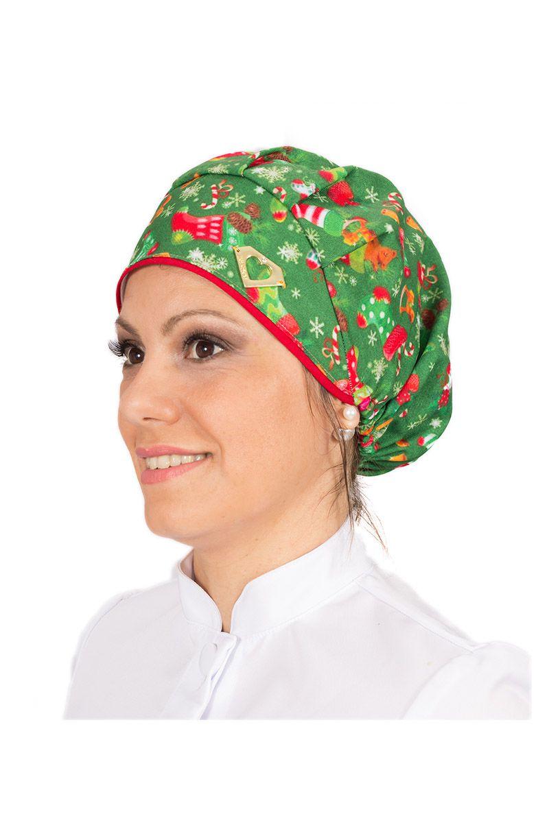 Touca cirúrgica com estampa natalina verde
