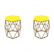 Kit 2 Puffs Aramado Hexagonal Base de Ferro Cobre Suede Amarelo - Sheep Estofados