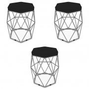 Kit 3 Puffs Aramado Hexagonal Base de Ferro Cinza Suede Preto - Sheep Estofados