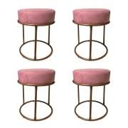 Kit 4 Puffs Decorativos Redondos Luxe Base de Aço Cobre Suede Rosê - Sheep Estofados