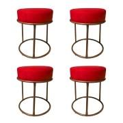 Kit 4 Puffs Decorativos Redondos Luxe Base de Aço Cobre Suede Vermelho - Sheep Estofados