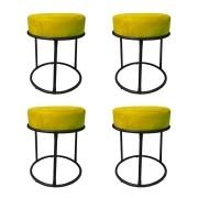 Kit 4 Puffs Decorativos Redondos Luxe Base de Aço Preta Suede Amarelo - Sheep Estofados