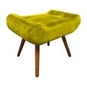 Puff Decorativo Muu Pés Palito Suede Amarelo - Sheep Estofados