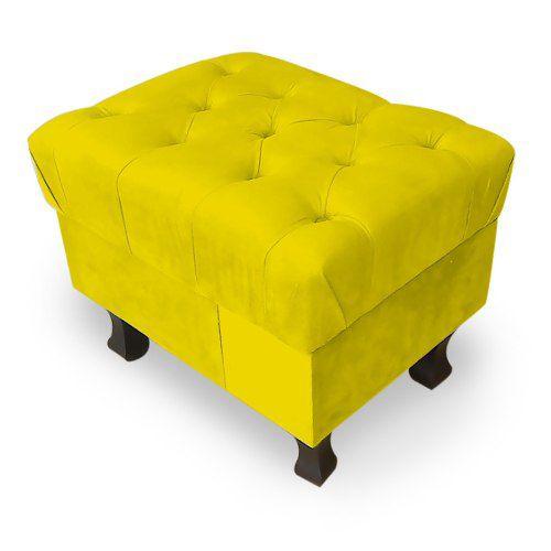 Puff Decorativo Retrô Luis Xv Capitonê Suede Amarelo - Sheep Estofados