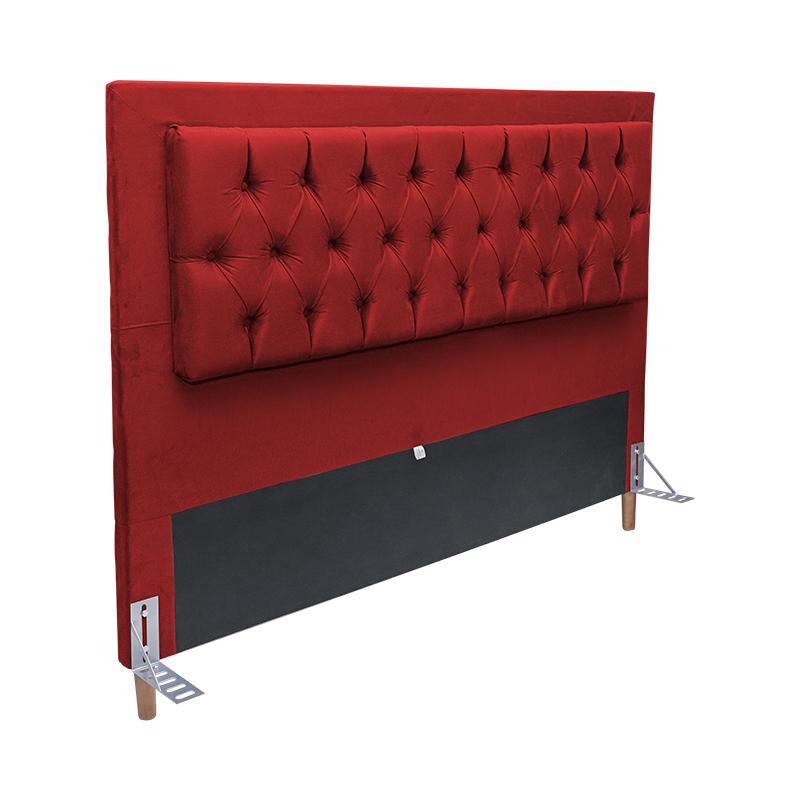 Cabeceira Cama Box Casal 140cm Paris Capitonê Suede Vermelho - Sheep Estofados