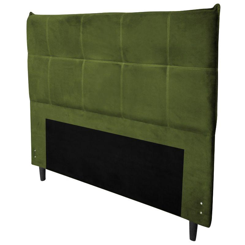 Cabeceira com Calçadeira Baú Casal 140cm Marselha Veludo Verde - Sheep Estofados
