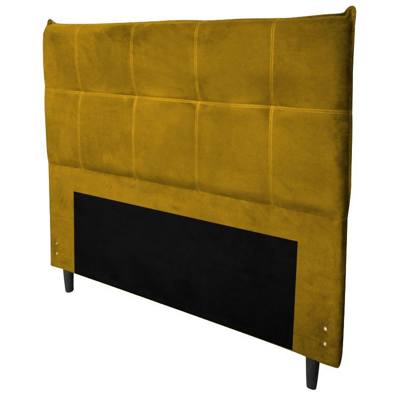 Cabeceira Cama Box Casal 140 cm Marselha Veludo Amarelo - Sheep Estofados