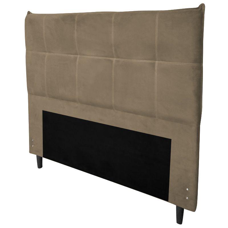 Cabeceira Cama Box Solteiro 90 cm Marselha Veludo Bege - Sheep Estofados