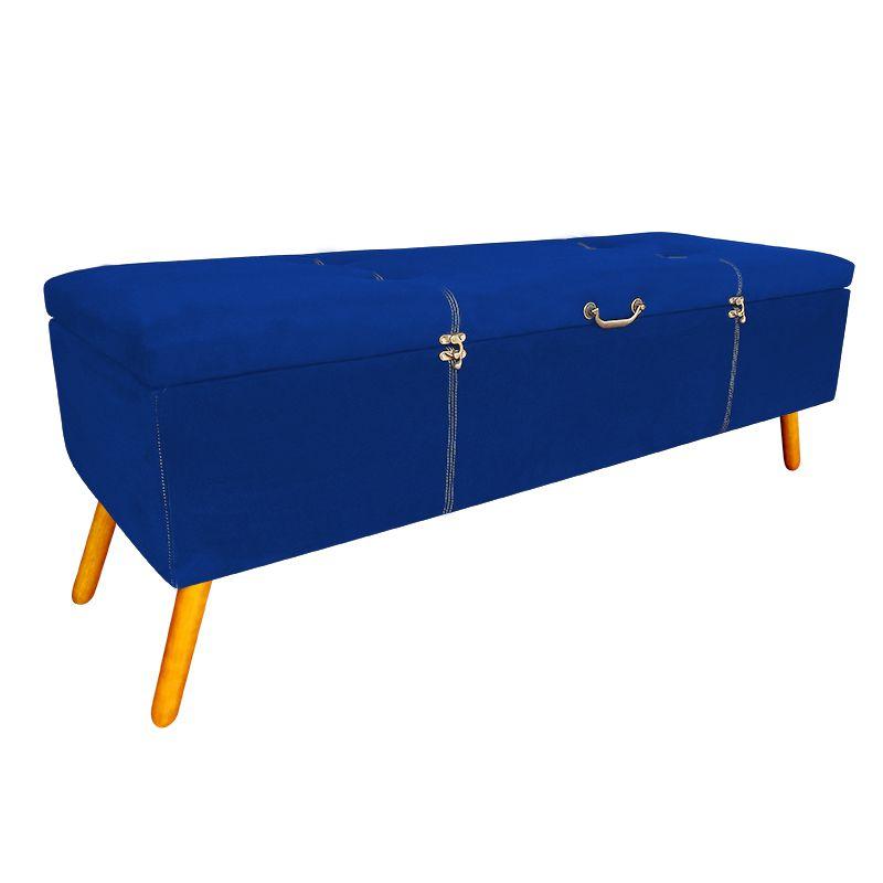 Calçadeira Baú Casal 140cm Caribe Pés Palito Suede Azul - Sheep Estofados