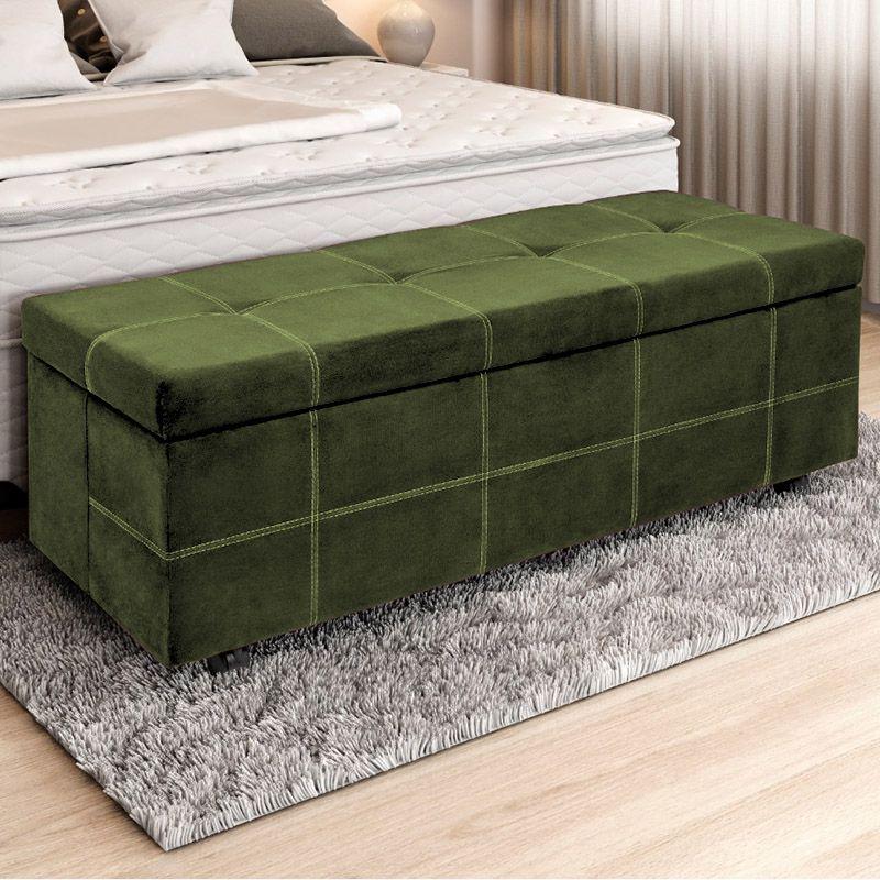 Calçadeira Baú Casal 140cm Marselha Veludo Verde - Sheep Estofados