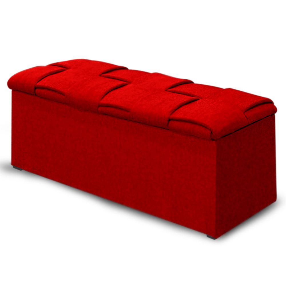 Calçadeira Baú Casal Queen 160cm Ravena Veludo Vermelho - Simbal