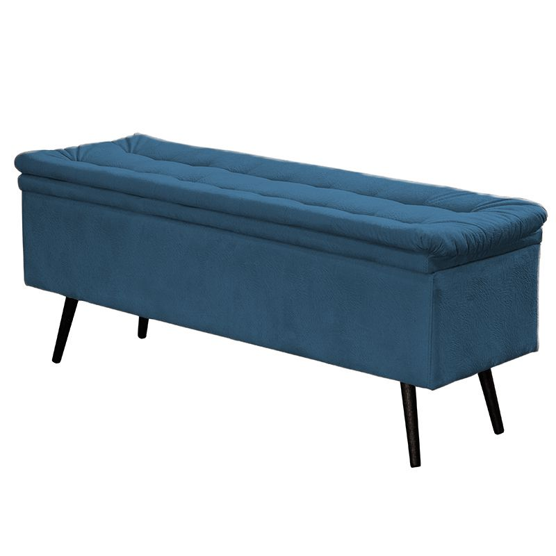 Calçadeira Baú Casal Conforto Suede Amassado Azul - Sheep Estofados