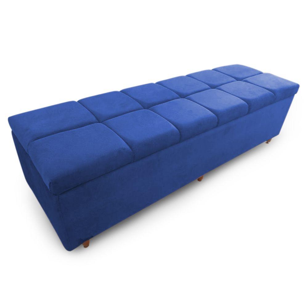 Calçadeira Baú Casal King 195cm Veneza Suede Azul - Sheep Estofados