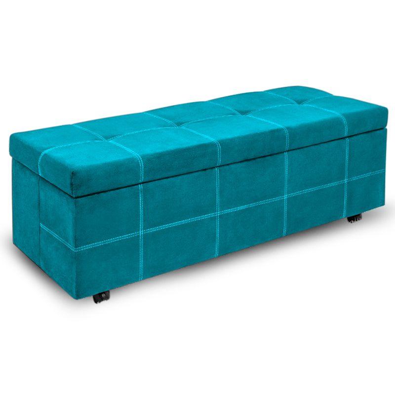 Calçadeira Baú Casal Queen 160cm Marselha Veludo Azul Turquesa - Sheep Estofados