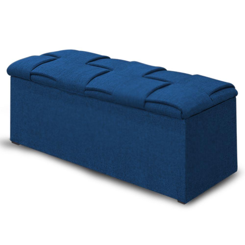 Calçadeira Baú Casal Queen 160cm Ravena Veludo Azul  - Simbal