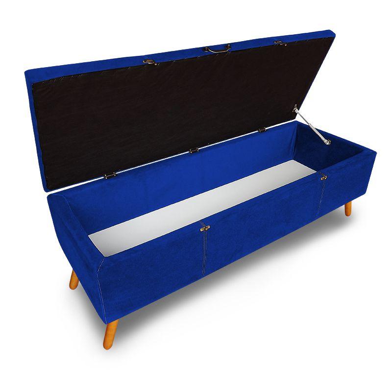 Calçadeira Baú Solteiro 90cm Caribe Pés Palito Suede Azul - Sheep Estofados