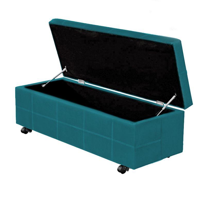 Calçadeira Baú Solteiro 90cm Marselha Veludo Azul Turquesa - Sheep Estofados