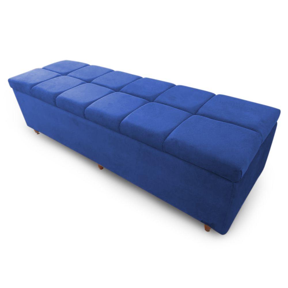 Calçadeira Baú Solteiro 90cm Veneza Suede Azul - Sheep Estofados