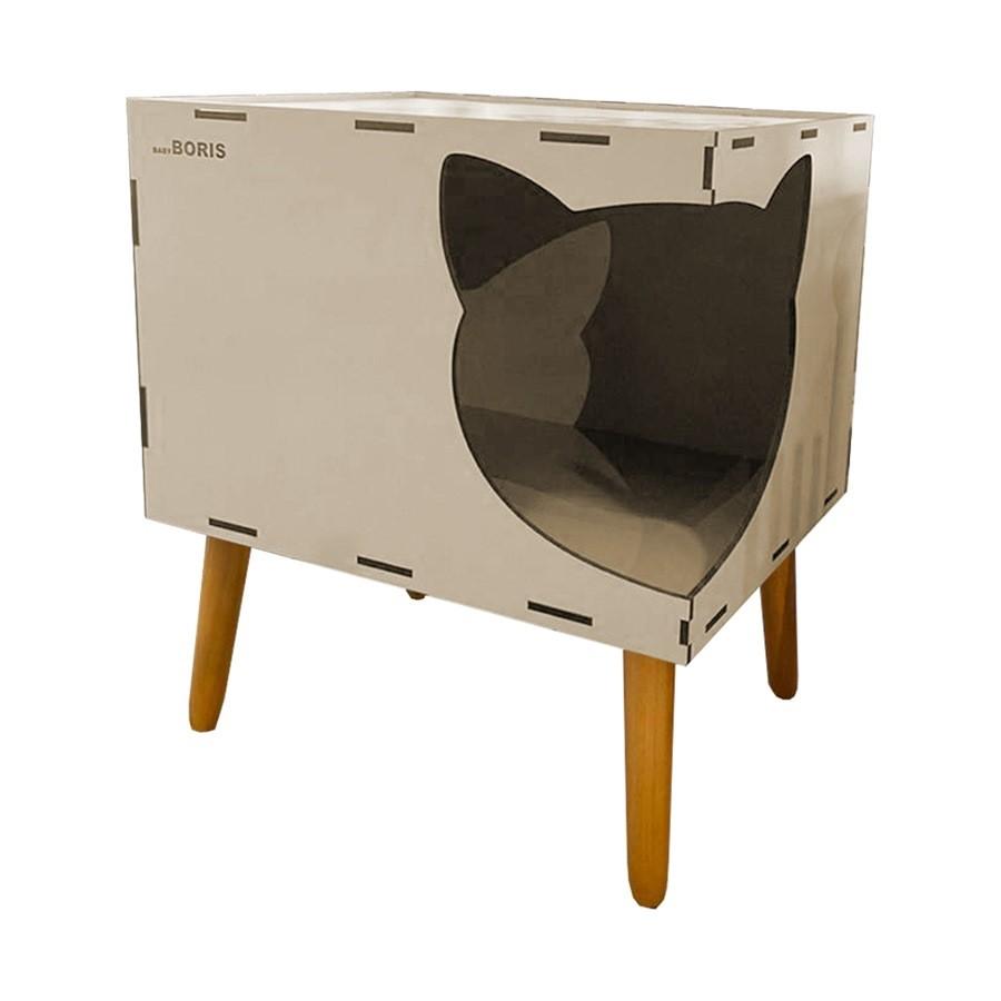 Casinha de Gato Cat Line B600 Pés Palito Bege - Sheep Estofados