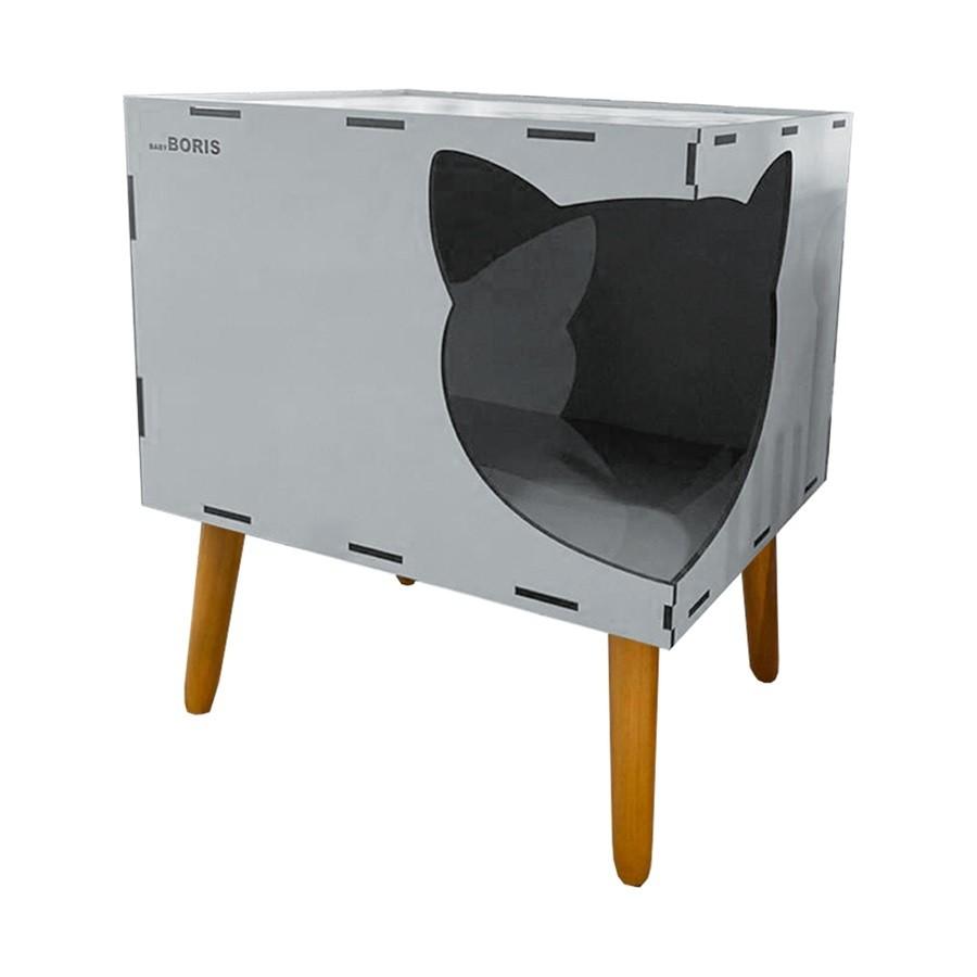 Casinha de Gato Cat Line B600 Pés Palito Cinza - Sheep Estofados