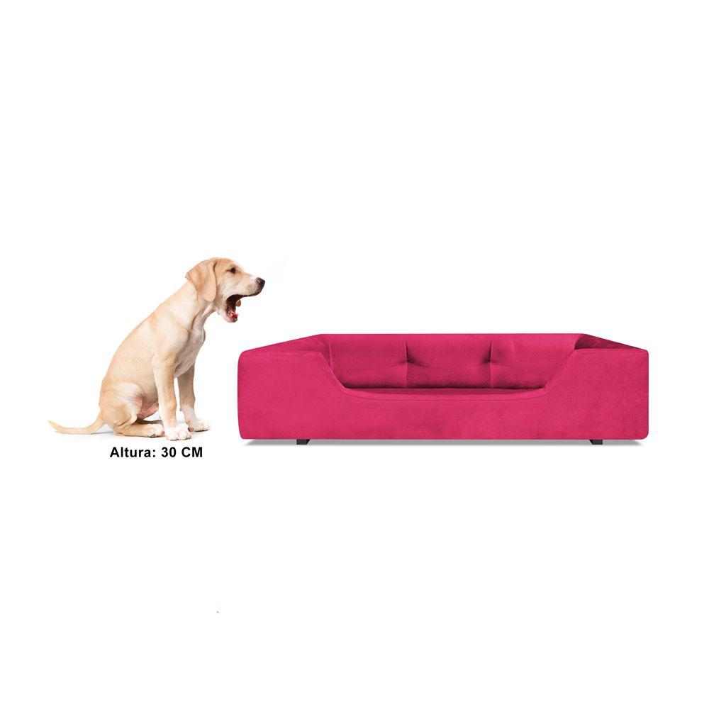 Caminha Retangular Pet Meg G 80cm Suede Rosa - Bella Cama