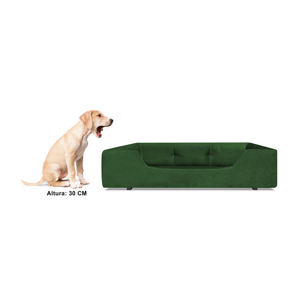 Caminha Retangular Pet Meg G 80cm Suede Verde - Bella Cama