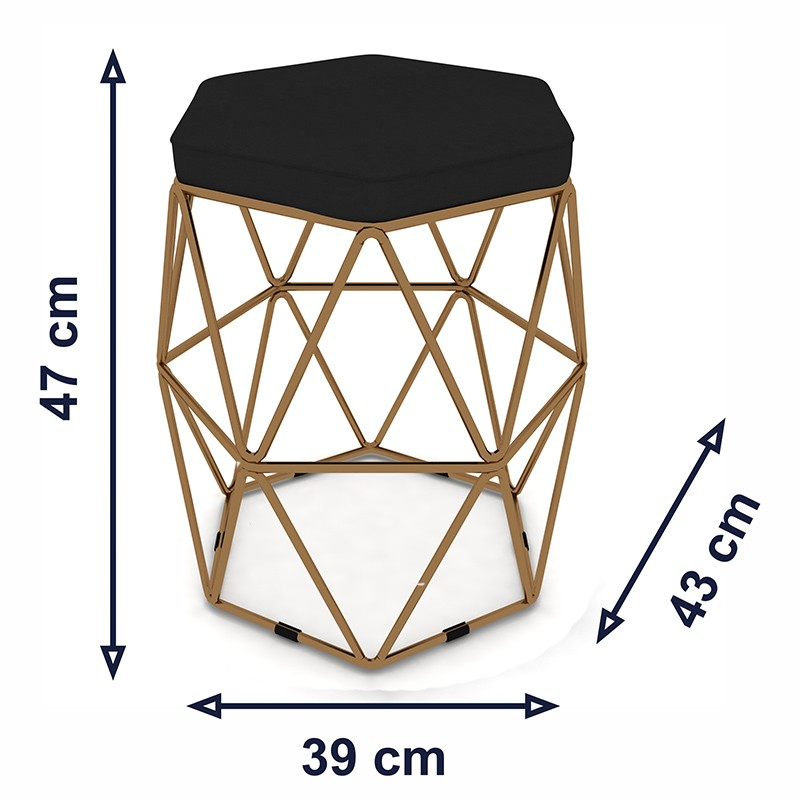 Kit 3 Puffs Aramado Hexagonal Base de Ferro Cobre Suede Preto - Sheep Estofados