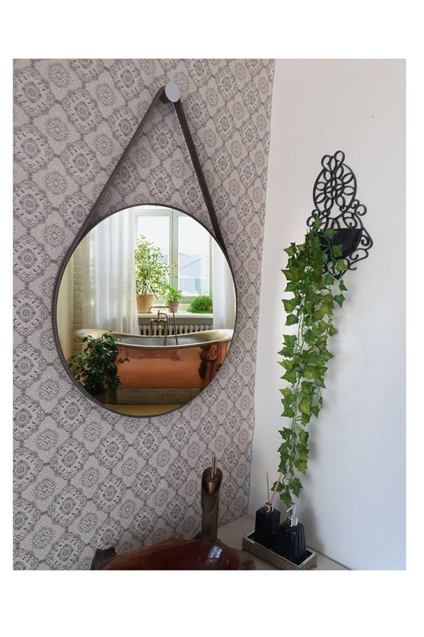 Espelho Decorativo Redondo 32cm Adnet com Alça Café - Sheep Estofados