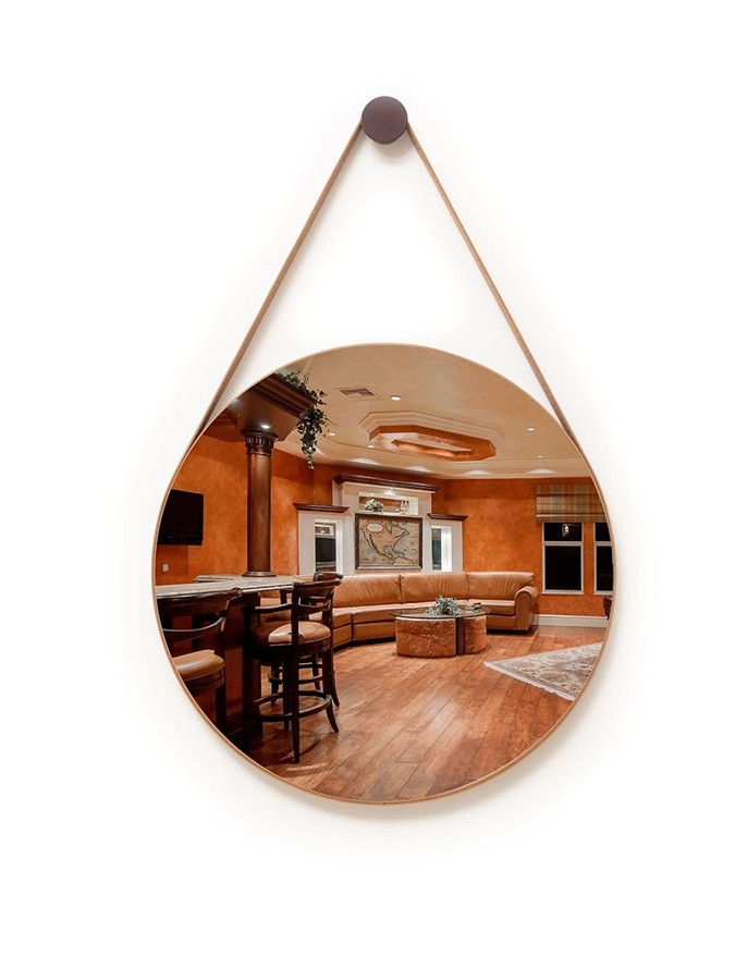 Espelho Decorativo Redondo 72cm Adnet com Alça Caramelo - Sheep Estofados