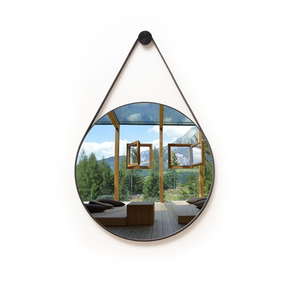 Espelho Decorativo Redondo 72cm Adnet com Alça Preta - Sheep Estofados