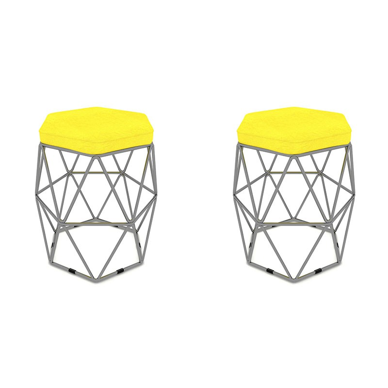 Kit 2 Puffs Aramado Hexagonal Base de Ferro Cinza Suede Amarelo - Sheep Estofados