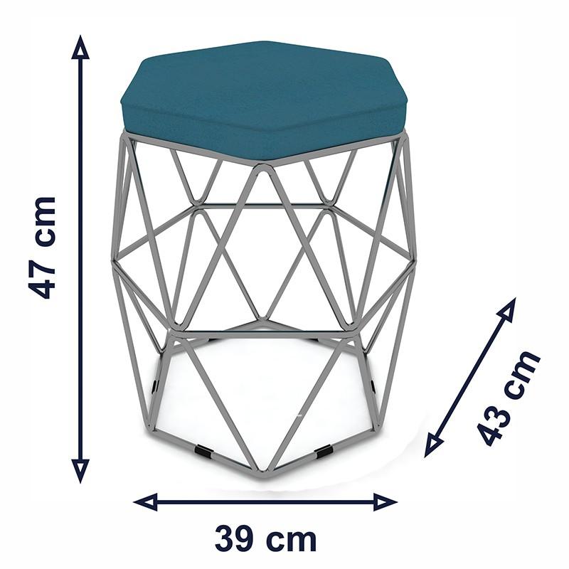 Kit 2 Puffs Aramado Hexagonal Base de Ferro Cinza Suede Turquesa - Sheep Estofados