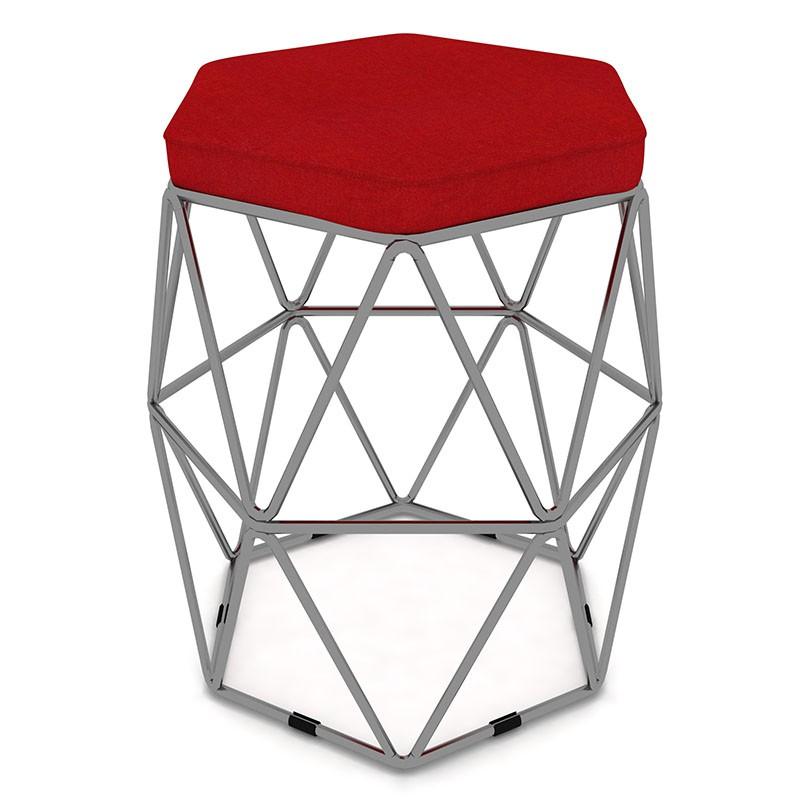Kit 2 Puffs Aramado Hexagonal Base de Ferro Cinza Suede Vermelho - Sheep Estofados