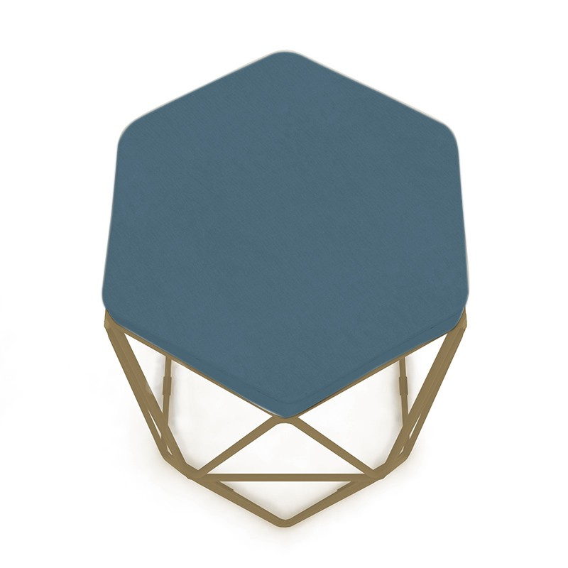Kit 2 Puffs Aramado Hexagonal Base de Ferro Cobre Suede Azul - Sheep Estofados