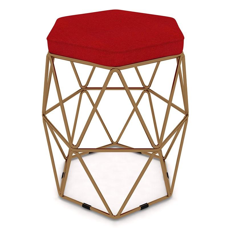 Kit 2 Puffs Aramado Hexagonal Base de Ferro Cobre Suede Vermelho - Sheep Estofados