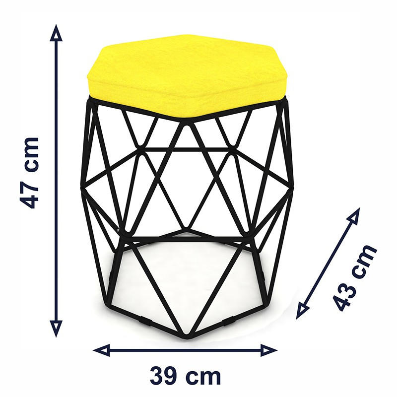 Kit 2 Puffs Aramado Hexagonal Base de Ferro Preta Suede Amarelo - Sheep Estofados