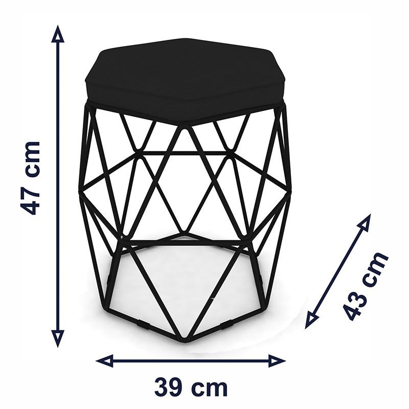 Kit 2 Puffs Aramado Hexagonal Base de Ferro Preta Suede Preto - Sheep Estofados