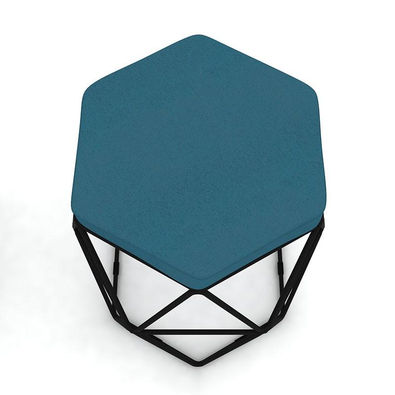 Kit 2 Puffs Aramado Hexagonal Base de Ferro Preta Suede Turquesa - Sheep Estofados