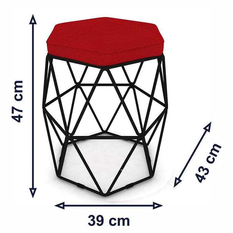 Kit 2 Puffs Aramado Hexagonal Base de Ferro Preta Suede Vermelho - Sheep Estofados