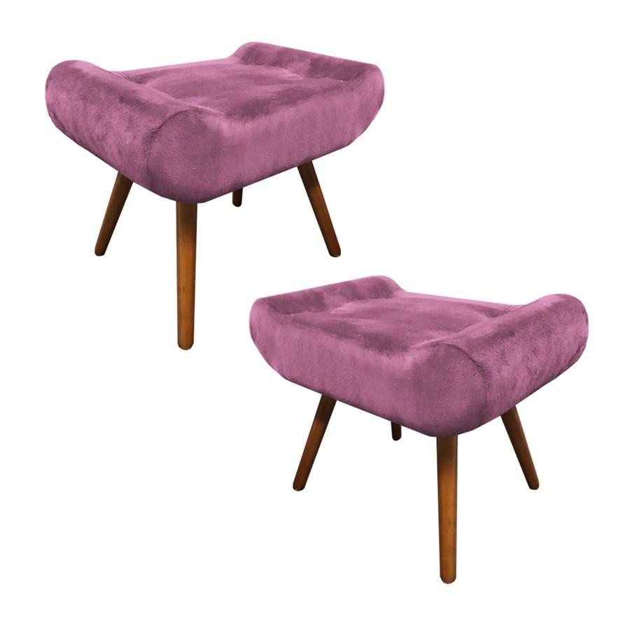 Kit 2 Puffs Decorativos Muu Pés Palito Suede Rosê - Sheep Estofados