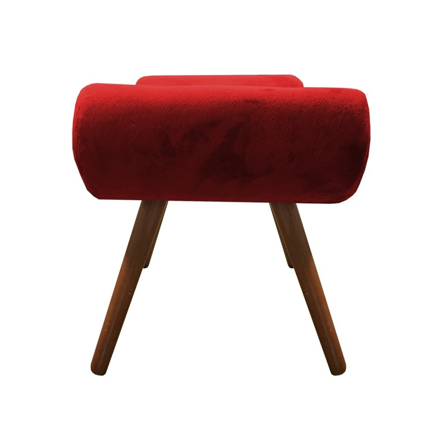 Kit 2 Puffs Decorativos Muu Pés Palito Suede Vermelho - Sheep Estofados
