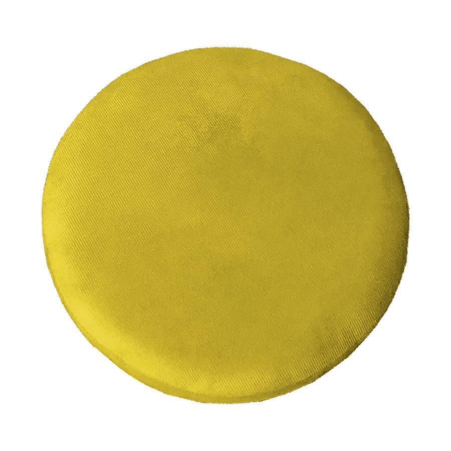 Kit 2 Puffs Decorativos Redondos Luxe Base de Aço Cobre Suede Amarelo - Sheep Estofados