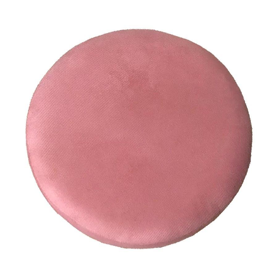 Kit 2 Puffs Decorativos Redondos Luxe Base de Aço Cobre Suede Rosê - Sheep Estofados