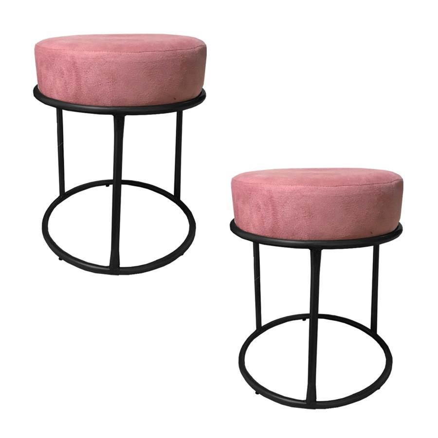 Kit 2 Puffs Decorativos Redondos Luxe Base de Aço Preta Suede Rosê - Sheep Estofados