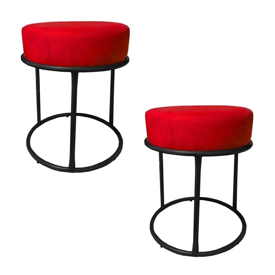 Kit 2 Puffs Decorativos Redondos Luxe Base de Aço Preta Suede Vermelho - Sheep Estofados