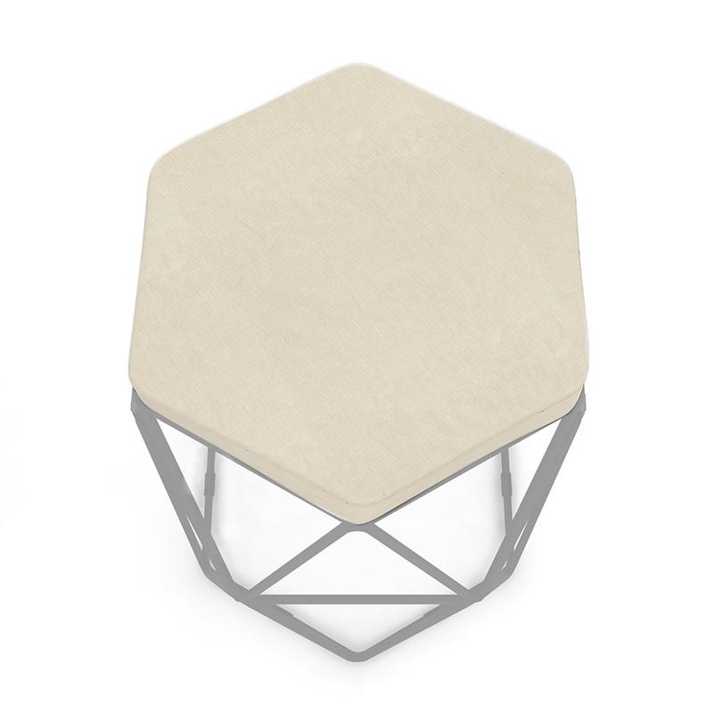 Kit 3 Banquetas Aramado Hexagonal Base de Ferro Cinza Suede Bege - Sheep Estofados