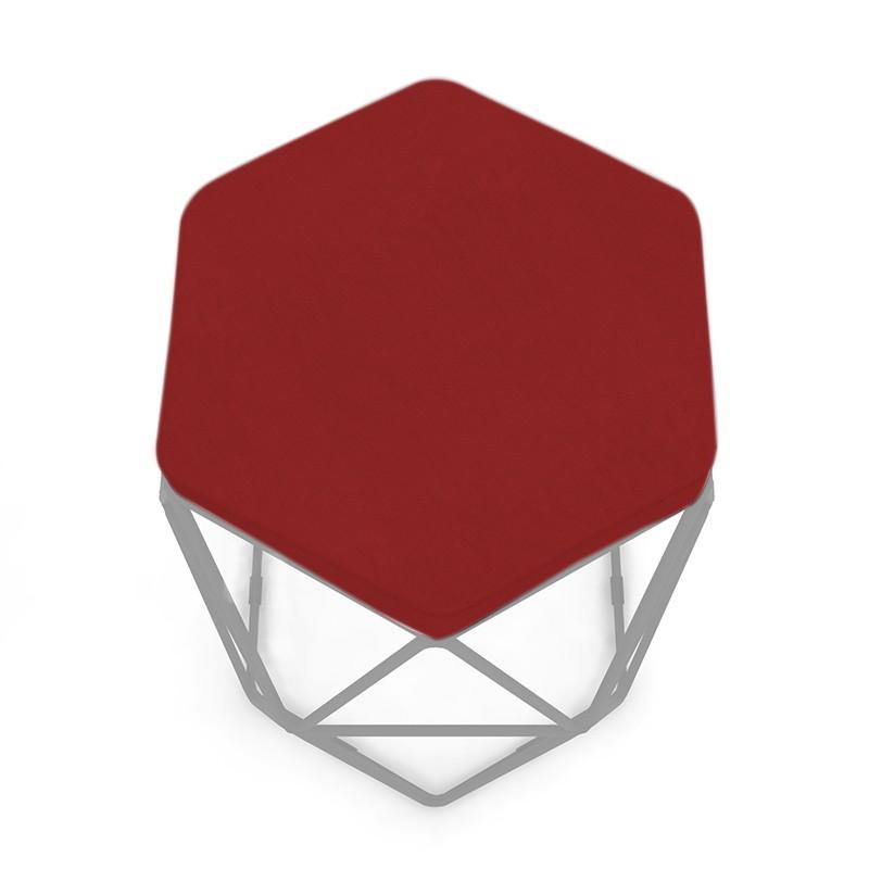 Kit 3 Banquetas Aramado Hexagonal Base de Ferro Cinza Suede Vermelho - Sheep Estofados