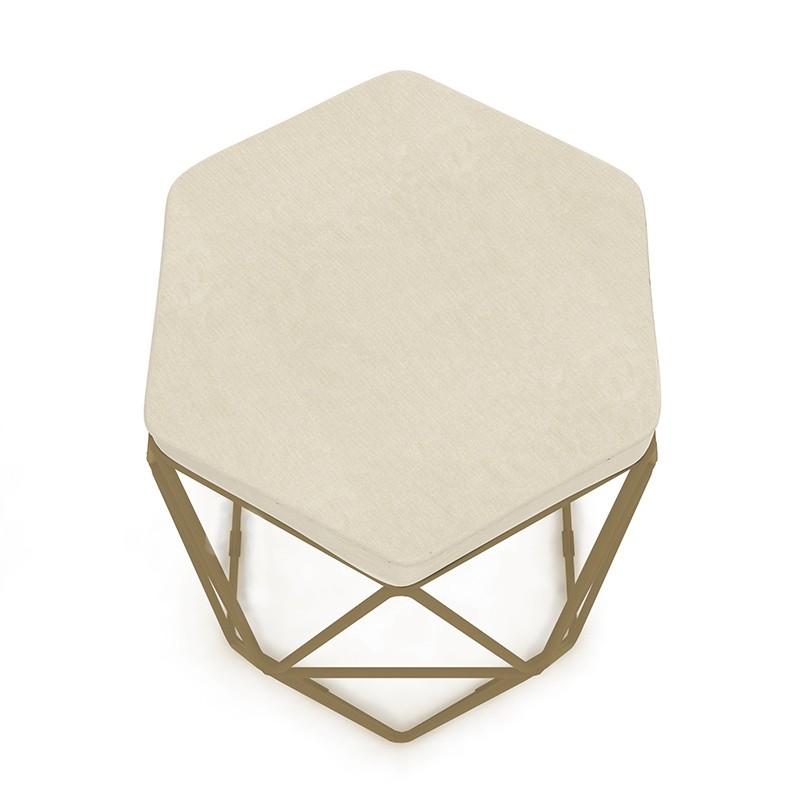 Kit 3 Banquetas Aramado Hexagonal Base de Ferro Cobre Suede Bege - Sheep Estofados